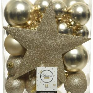 Christmas-Decorations - Set di 33 palle natalizie in plastica, con punta a stella, colore: oro