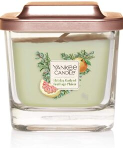 Yankee Candle Elevation Collection con Coperchio Utilizzabile come Base Candela Quadrata a 1 Stoppini, Figura e Chiodi di Garofano, Piccola